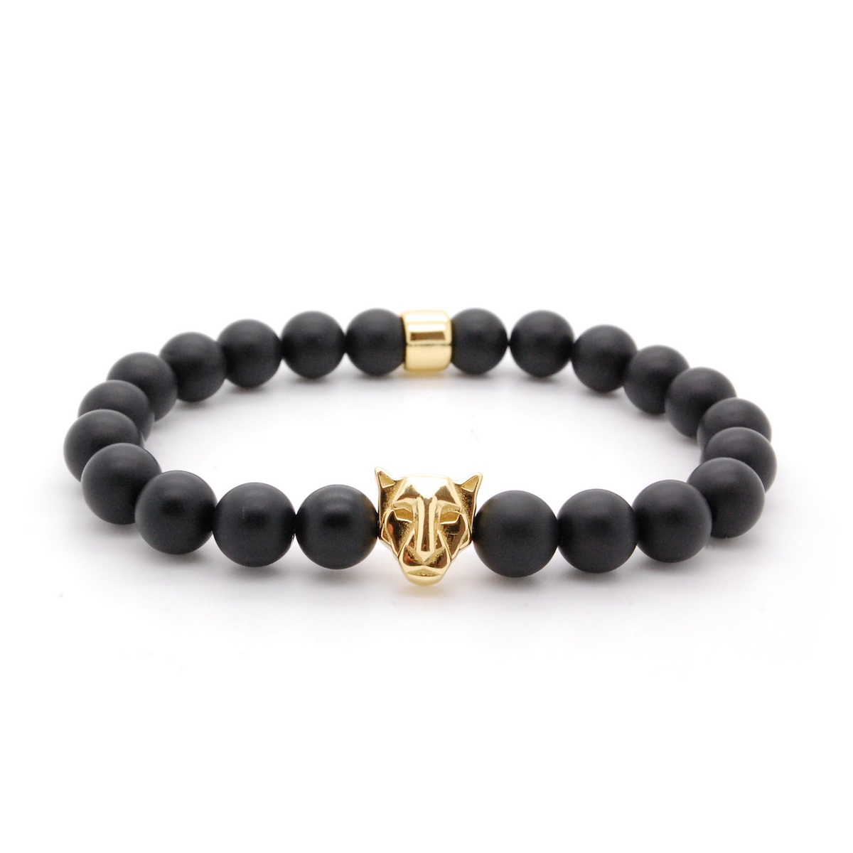 s real stretch products bracelets wrist bracelet black energy beaded obsidian panther golden men mm stone natural